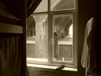 A window in sepia