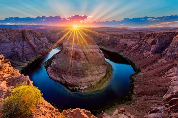 Sunset at Horseshoe Bend by dakoch - Bright Colors In Nature Photo Contest
