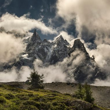 After a rainstorm on the Grand Balcon Nord, Chamonix