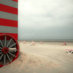 Old fashion beachwagon in 'De Panne', belgium