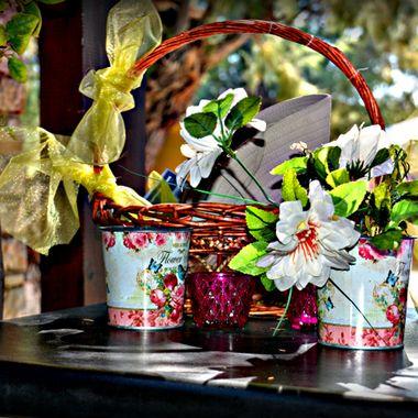 Flowers and basket arrangement.