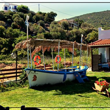 Greek Garden with Boat.