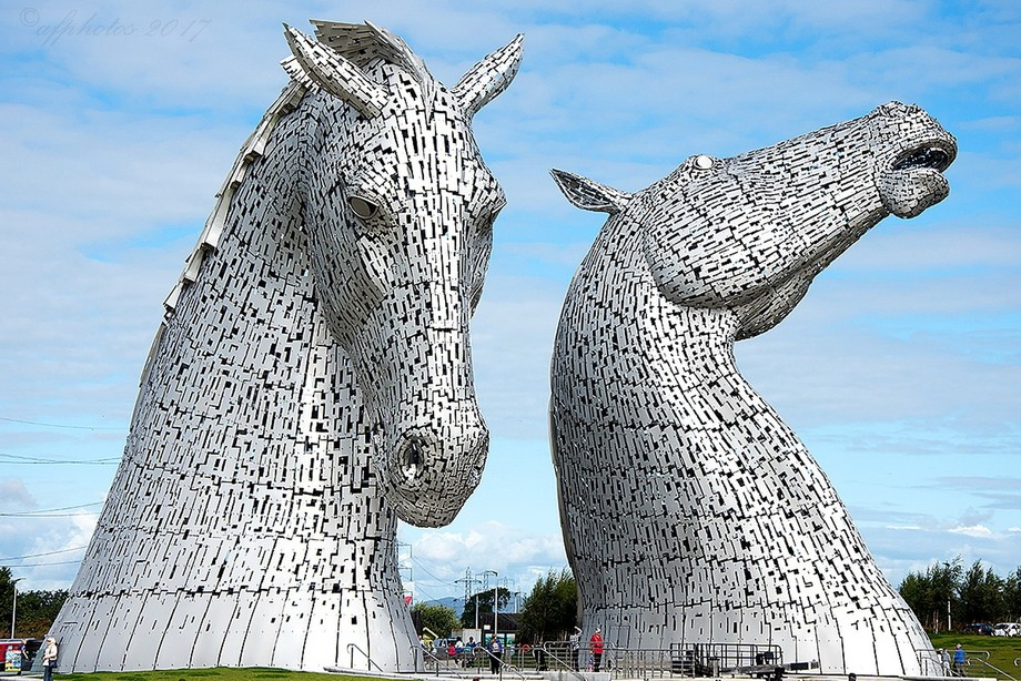 The Kelpies statues just off the M9 near Falkirk