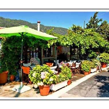 Cafe Pigi at Manolates, Samos Island.