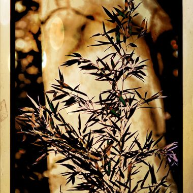 Manipulated image of a Tee with bush in front of it.