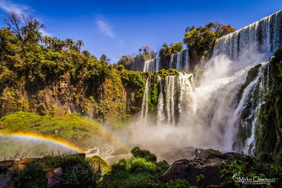 The Iguazu Falls are waterfalls originated by the Iguazu River on the border of the Argentine pro...