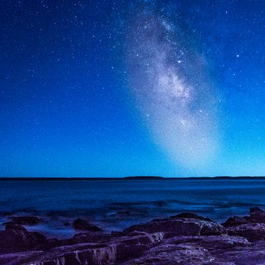 The Milky Way over Otter Cliffs in Acadia National Park.