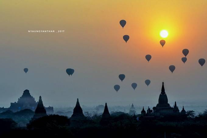 Balloons over the temple  by nyaungyanthar - Image Of The Month Photo Contest Vol 26