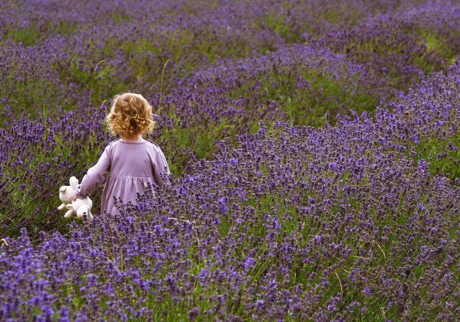 Took this picture while visiting London's lavender fields. This little girl ran past me ...