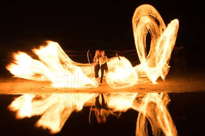 Long exposure with an oil-soaked burning rope. As shot with minor correction.