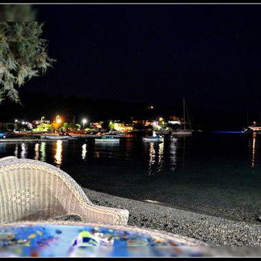 Bay in the night light.