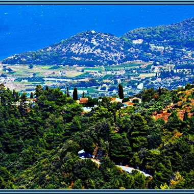 View from the mountains overlooking the North Eastern coast of Samos Island.