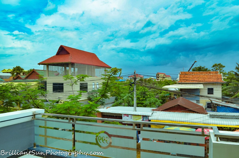 View from a rooftop patio in a residential Neighborhood in Phnom Penh, Cambodia.