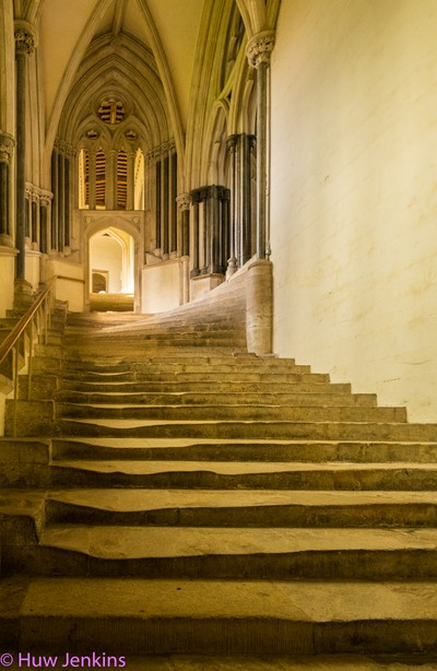 Staircase. Wells Cathedral, Somerset. UK