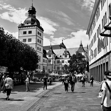 Paderborn Town view in monochrome.