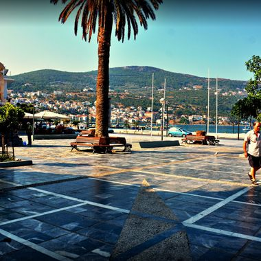 The new refurbished town square in Samos Town.