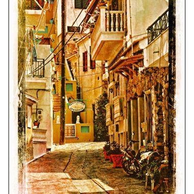 Wonderfully artistic side street in Greece.