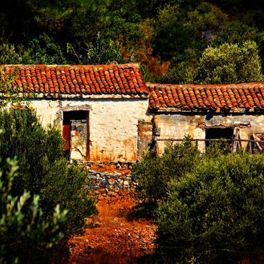 Ruined buildings on Greek Island of Samos.