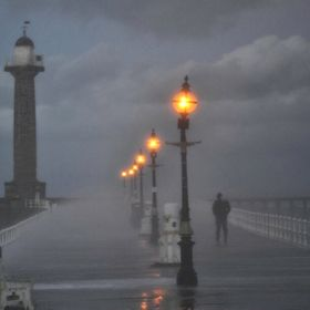 Braving the Storm - Whitby Harbour.