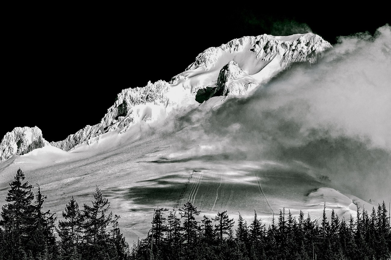 Mount Hood is the most recognized cascade peak in Oregon. It was converted into black and white using the zone system technique for digital photography as developed by Vincent Versace and further refined by Blake Rudis.