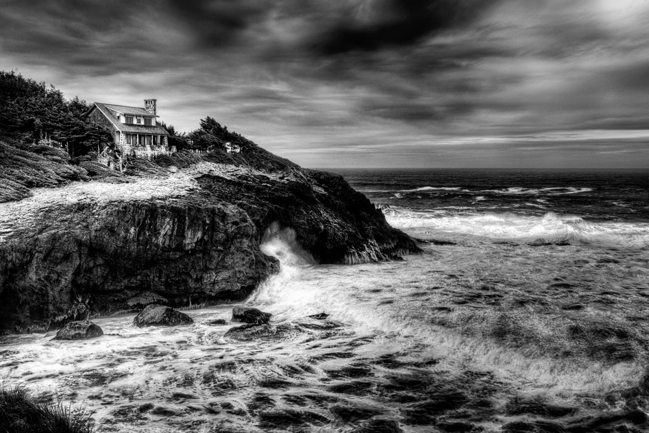 This photograph was captured near Newport, Oregon on a very overcast day. It is an HDR composite of three frames, allowing for a more turbulent sea effect. The black and white conversion was made using a combination of Lightroom and On1 Raw following Blake Rudis's Digital Zone System. I tried to create a stormy mood that is so often experienced during the winter on the Oregon Coast.