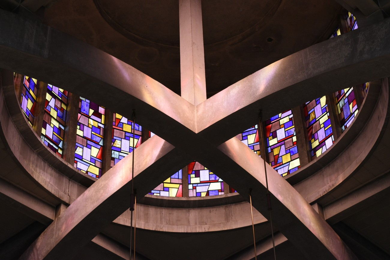 This year is the diamond jubilee of this church. The view is of the stained glass in the cylindrical shaped cupola.