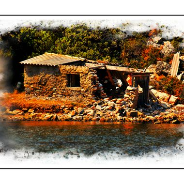Delapidated old shack on Samos Island done in HDR