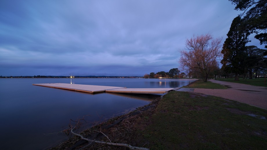 Lake Wendouree is in Ballarat, Victoria, Australia. This photo was taken after sunset, when the sky had a steely, sort of cobalt glow. I love the lake like this!  (K1SB2372)