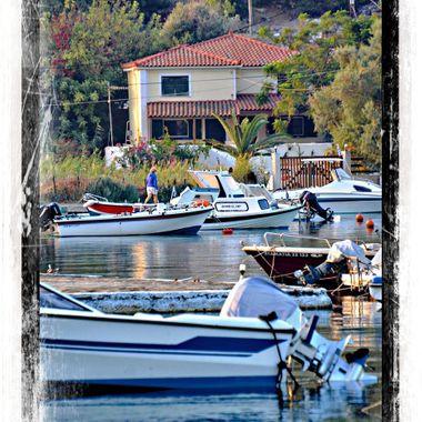Boats moored at Posidonio Bay.