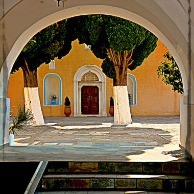 Arch and courtyard at the monastery, East Samos.