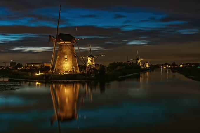 Windmills in the floodlight by henrivanavezaath - Windmills Photo Contest