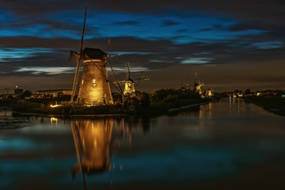 Windmills in the floodlight