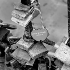 Love locks, or padlocks of love in St. Julian's Bay, Malta.  Couples in love add their locks as symbols of undying love.  I wonder how many ...