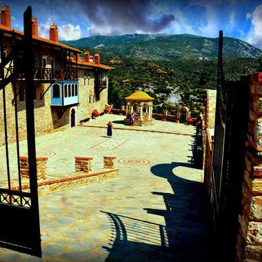 Monastery courtyard in the sun.
