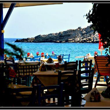 Empty cafe at Kokarri, Samos.