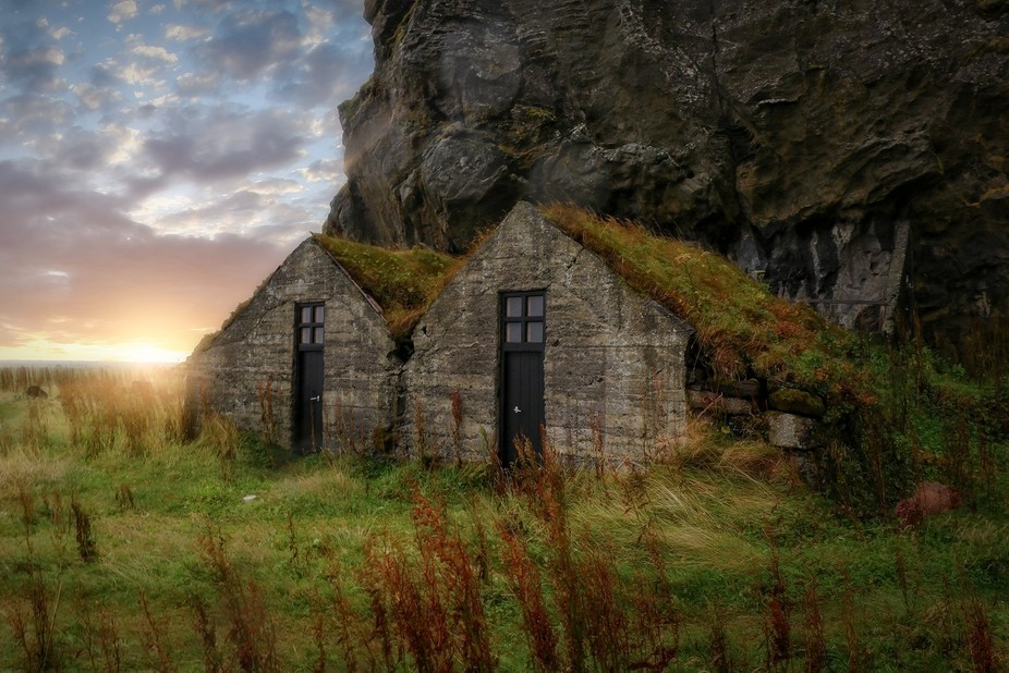A pair of sheds with surprisingly nice doors off the side of the south ring road in Iceland. I wa...