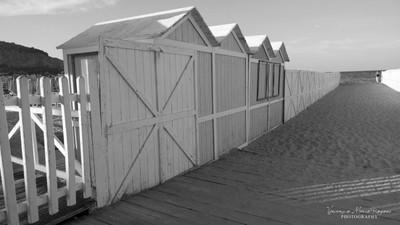 Beach cabins B&W