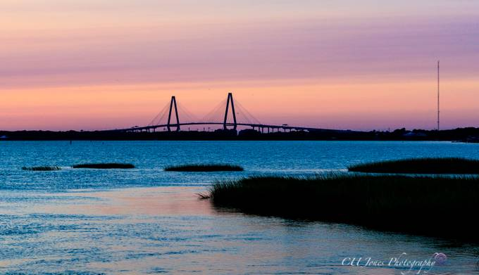 Sunset on Pitt Street Bridge, Mount Pleasant, South Carolina. This is pre hurricane Irma