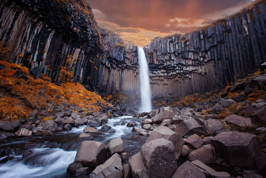A majestic waterfall in Iceland's Skaftafell Park.
