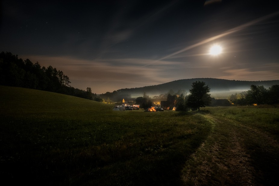 Tom's camping in Marsov u Upice in the Czech Republic shot in moonlight