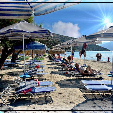 Sandiest beach on the Island of Samos at Psilli Ammos.