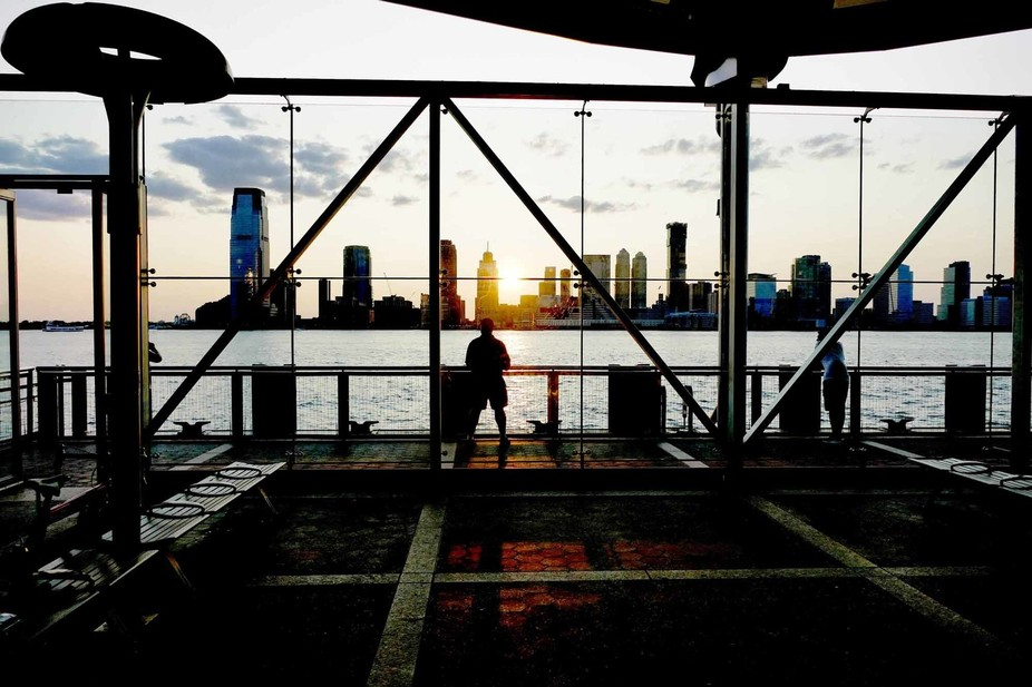 Ferry landing near World Trade Center, NYC. Looking at Jersey City across the water.