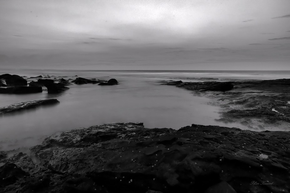 Black and White images of a recent trip to Woody Head NSW, Woody Head Rocks in front of the campi...