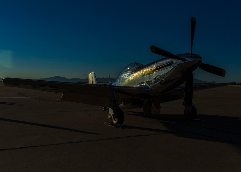 early morning shimmer on the side of a historic plane