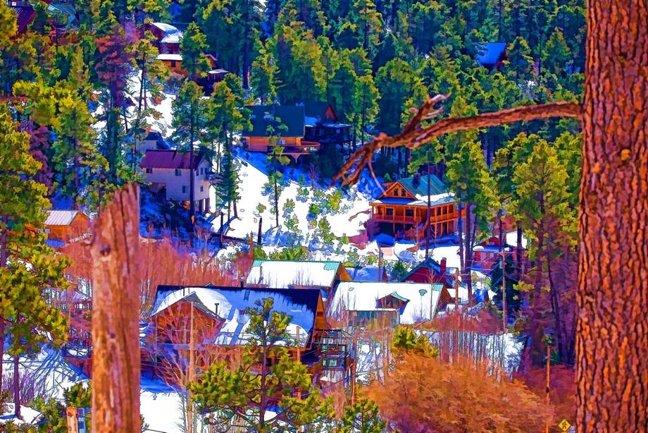 snowy mountain village art