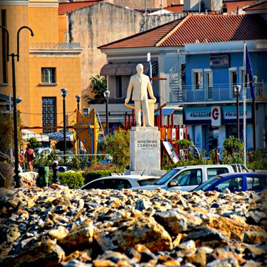The statue in Samos Town near the sea front.