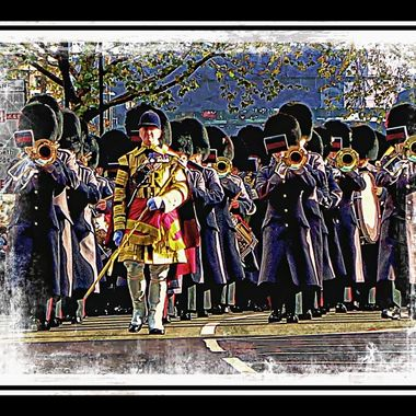 Band in London Remembrance Day Pde 2014.