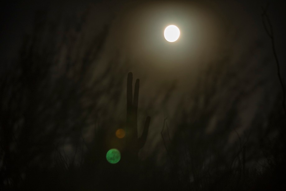The lens flare spots show the textured super moon