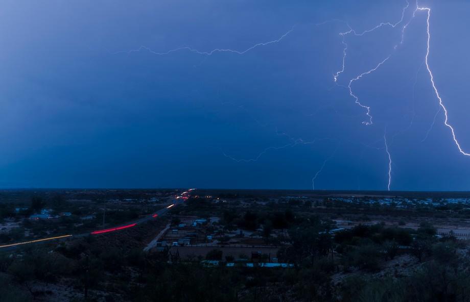 a gargantuan lightning strike covers several square miles