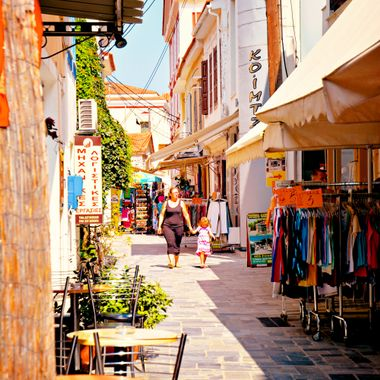 Shopping mall in Samos town.